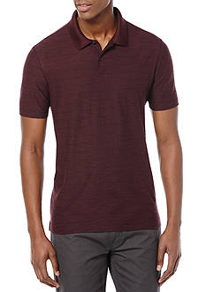Perry Ellis® Short Sleeve Two Button Stripe Pique Polo Shirt