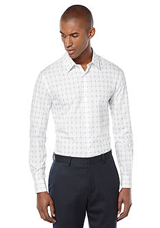 Perry Ellis Long Sleeve Space-Dyed Windowpane Check Woven Shirt