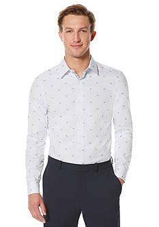 Perry Ellis Long Sleeve Slim Scattered Paisley Print Shirt