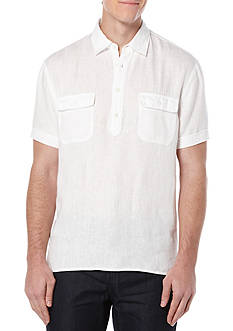 Perry Ellis Short Sleeve Double Pocket Linen Shirt