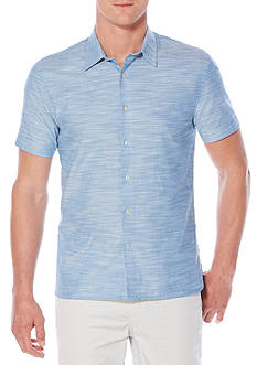 Perry Ellis® Short Sleeve Solid Slub Texture Shirt
