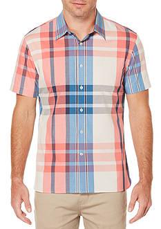 Perry Ellis Short Sleeve Exploded Plaid Shirt