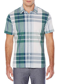 Perry Ellis® Short Sleeve Exploded Plaid Shirt