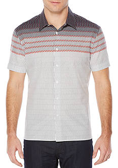 Perry Ellis® Short Sleeve Horizontal Zig Zag Shirt
