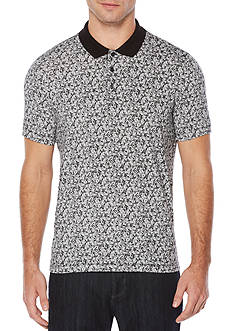 Perry Ellis® Short Sleeve Tonal Leaf Print Pima Cotton Polo Shirt