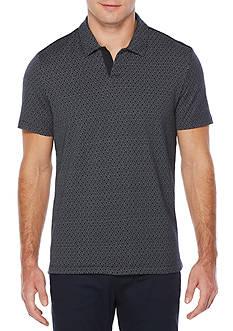 Perry Ellis Short Sleeve Travel Luxe Jacquard Open Collar Polo Shirt
