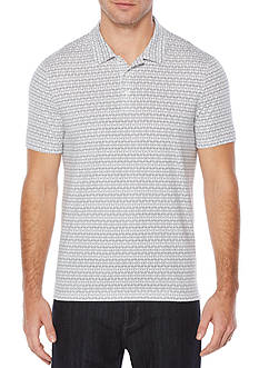 Perry Ellis Short Sleeve Interlocking Geometric Pima Cotton Polo Shirt