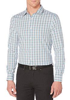 Perry Ellis Long Sleeve Travel Luxe Multi Plaid Tattersall Stripe Shirt