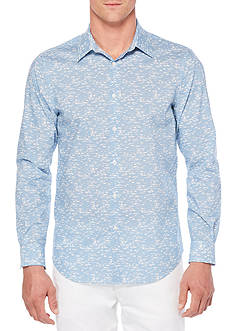 Perry Ellis Long Sleeve Travel Luxe Linear Camo Shirt