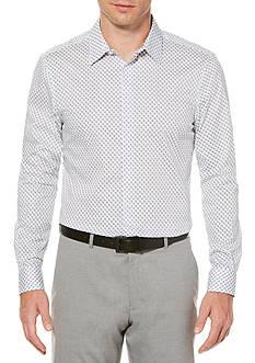 Perry Ellis Long Sleeve Travel Luxe Micro Paisley Dot Shirt