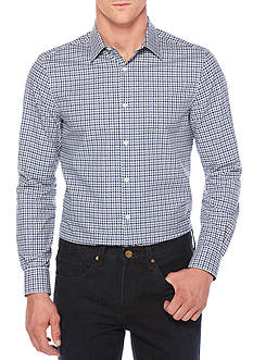 Perry Ellis Long Sleeve Travel Luxe Twill Micro Check Shirt