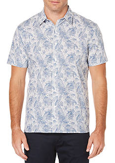 Perry Ellis Short Sleeve Tropical Sketched Floral Stripe Shirt