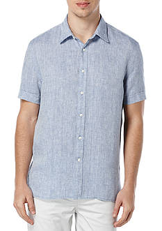 Perry Ellis® Short Sleeve Solid Chambray Linen Shirt