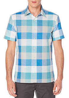 Perry Ellis Short Sleeve Buffalo Plaid Linen Cotton Shirt