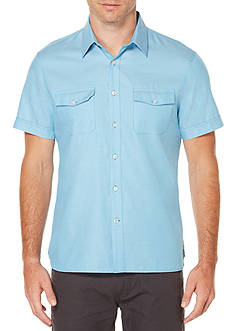 Perry Ellis Short Sleeve Solid Textured Oxford Single Pocket Shirt
