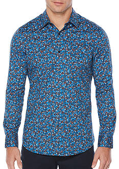 Perry Ellis Long Sleeve Poppy Floral Motif Shirt
