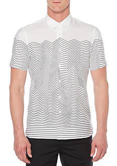 Perry Ellis Short Sleeve Slim Fit Wave Stripe Shirt