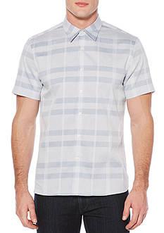 Perry Ellis Short Sleeve Plaid Tonal Dobby Shirt