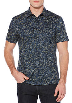 Perry Ellis Short Sleeve Allover Floral Stripe Shirt