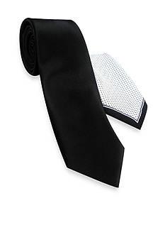 Haggar® Extra Long Solid Polyester Tie & Pindot Pocket Square Set
