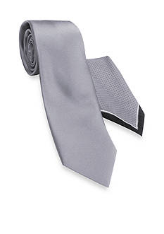 Haggar® Extra Long Solid Polyester Tie & Pindot Pocket Square Set