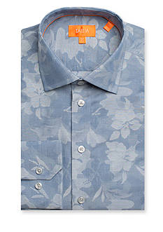 Tallia Orange Slim-Fit Large Indigo Floral Point Long Sleeve Dress Shirt