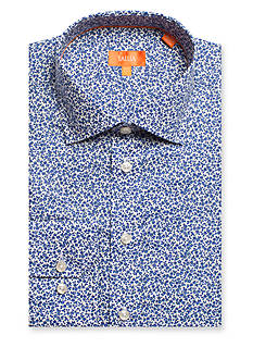 Tallia Orange Slim-Fit Ditsy Floral Dress Shirt