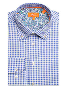 Tallia Orange Slim-Fit Gingham Dress Shirt