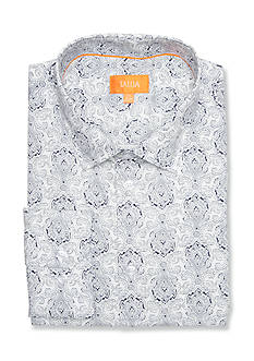 Tallia Orange Slim-Fit Medallion Printed Dress Shirt