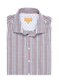 Tallia Orange Slim-Fit Plaid Long Sleeve Shirt