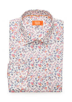 Tallia Orange Slim-Fit Floral Print Dress Shirt