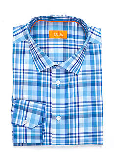 Tallia Orange Slim-Fit Plaid Dress Shirt