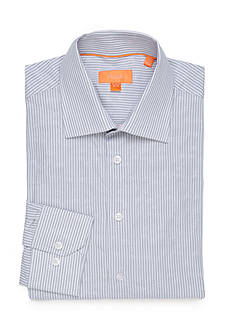 Tallia Orange Slim-Fit Striped Jacquard Dress Shirt