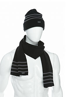 Levi's Reversible Thin Stripe Beanie and Scarf Set