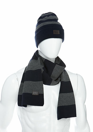 Levi's® Reversible Flat Knit Medium Stripe Beanie and Scarf Set