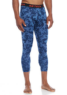 SB Tech Three-Quarter Printed Compression Leggings