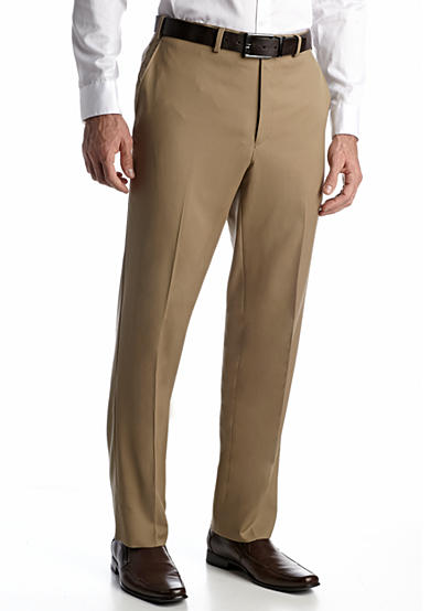 Austin Reed Tan Solid Flat Front Pants