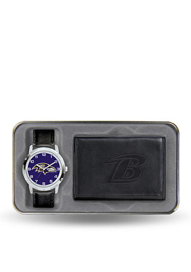 Rico Industries Baltimore Ravens Black Watch And Wallet Gift Set-Online Only