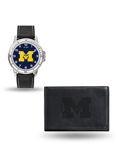 Rico Industries Michigan Wolverines Black Watch and Wallet Gift Set-Online Only