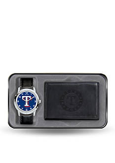 Rico Industries Texas Rangers Black Watch And Wallet Gift Set-Online Only