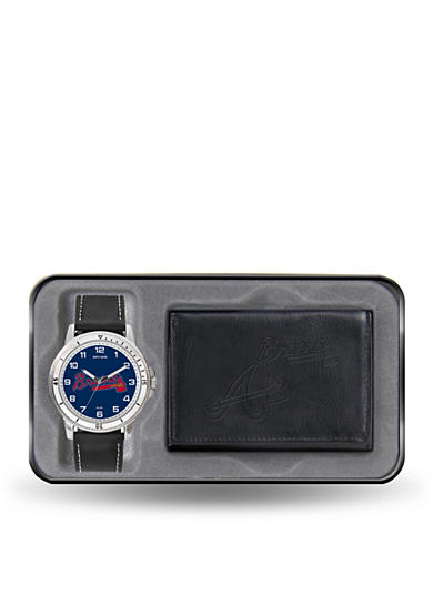Rico Industries Atlanta Braves Black Watch And Wallet Gift Set-Online Only