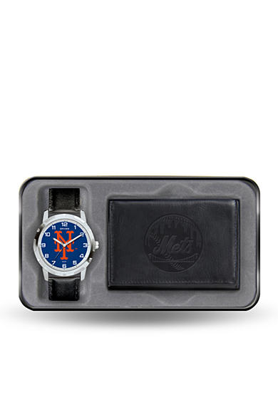 Rico Industries New York Mets Black Watch and Wallet Gift Set-Online Only