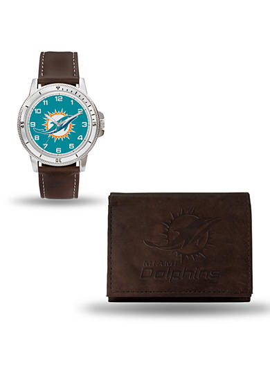 Rico Industries Miami Dolphins Brown Watch And Wallet Gift Set - Online Only