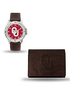 Rico Industries Oklahoma Sooners Brown Watch And Wallet Gift Set