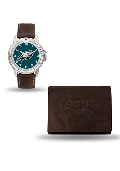 Rico Industries Philadelphia Eagles Brown Watch And Wallet Gift Set