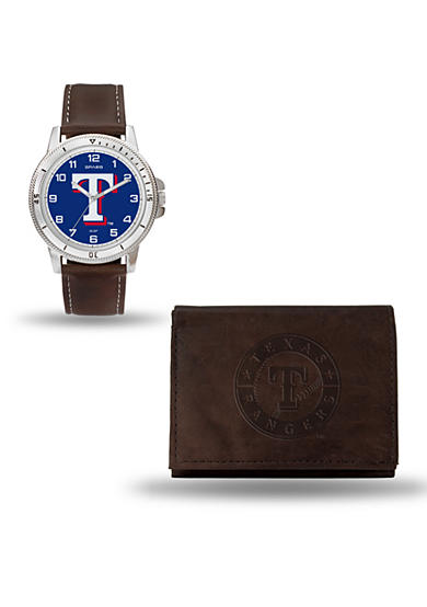 Rico Industries Texas Rangers Brown Watch and Wallet Gift Set