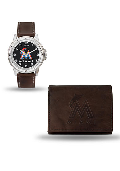Rico Industries Miami Marlins Brown Watch and Wallet Gift Set