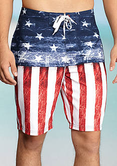 Red Camel® Flag Print Board Shorts
