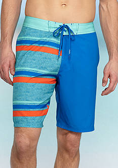 Red Camel® Half & Half Striped Four-Way Board Shorts
