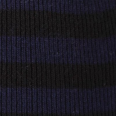 Original Penguin: Black / Navy Original Penguin Striped Knit Beanie Cap